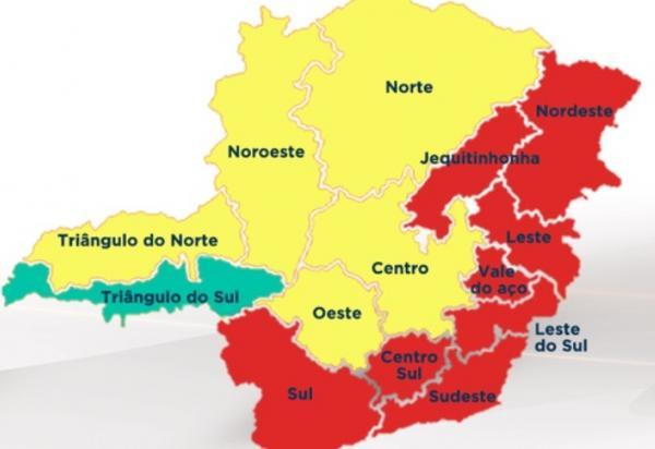 Nove das 14 regiões de Minas estão na 'onda vermelha'